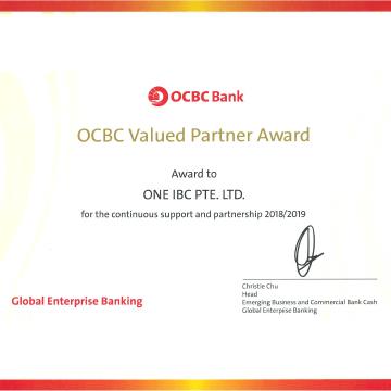 El logro de One IBC Limited en 20 19 de recibir el premio Value Partner de OCBC Bank en 5 años consecutivos.
