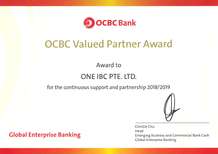 One IBC Limited's 2019 achievement of receiving OCBC Bank's Value Partner Award in 5 consecutive years.