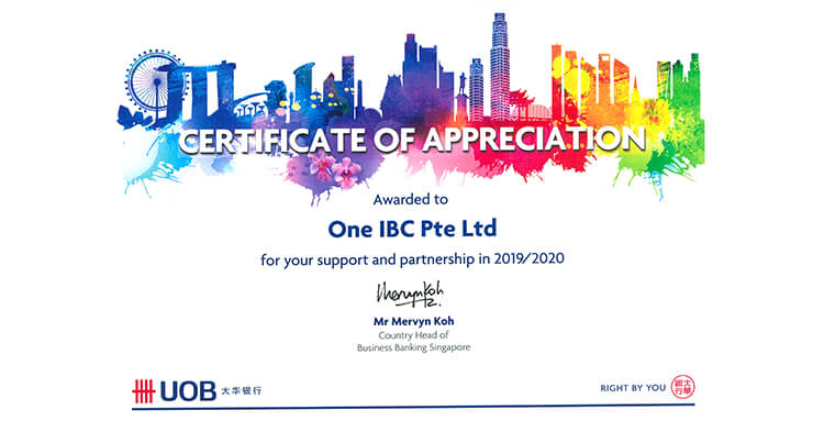 One IBC is honored for being a valued partner with United Overseas Bank (UOB)