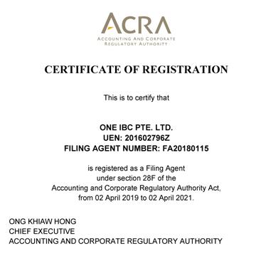 One IBC Pte. Ltd - Proveedor de servicios corporativos de certificados en Singapur por ACRA 20 19 - 202 1