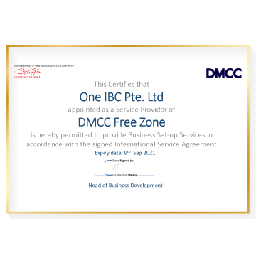 New Certificate granted to One IBC as a Service Provider of DMCC Free Zone
