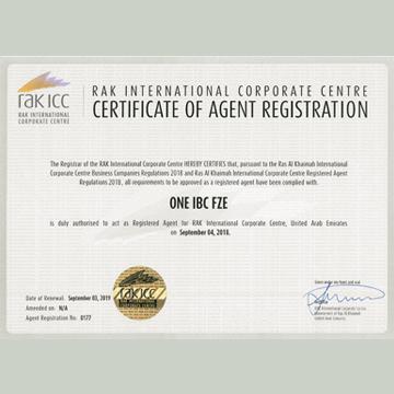 One IBC đã được cấp giấy chứng nhận là đối tác Đăng ký tại các Tiểu Vương Quốc Arab Thống Nhất